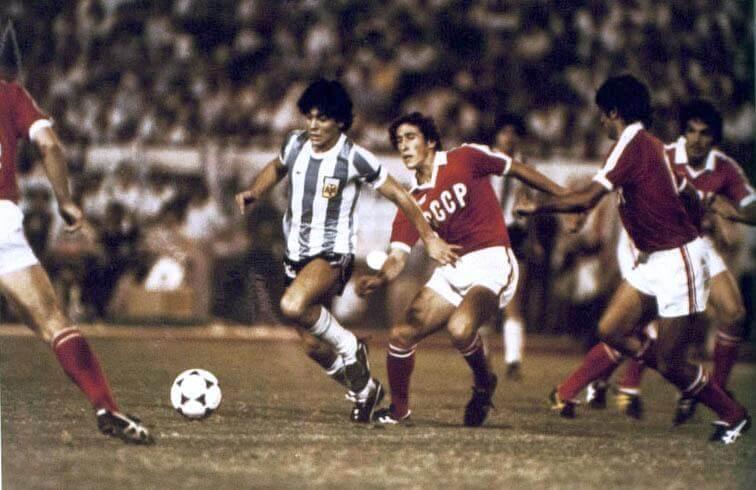 Maradona playing v the Soviet Union at the 1979 FIFA World Youth Championship final