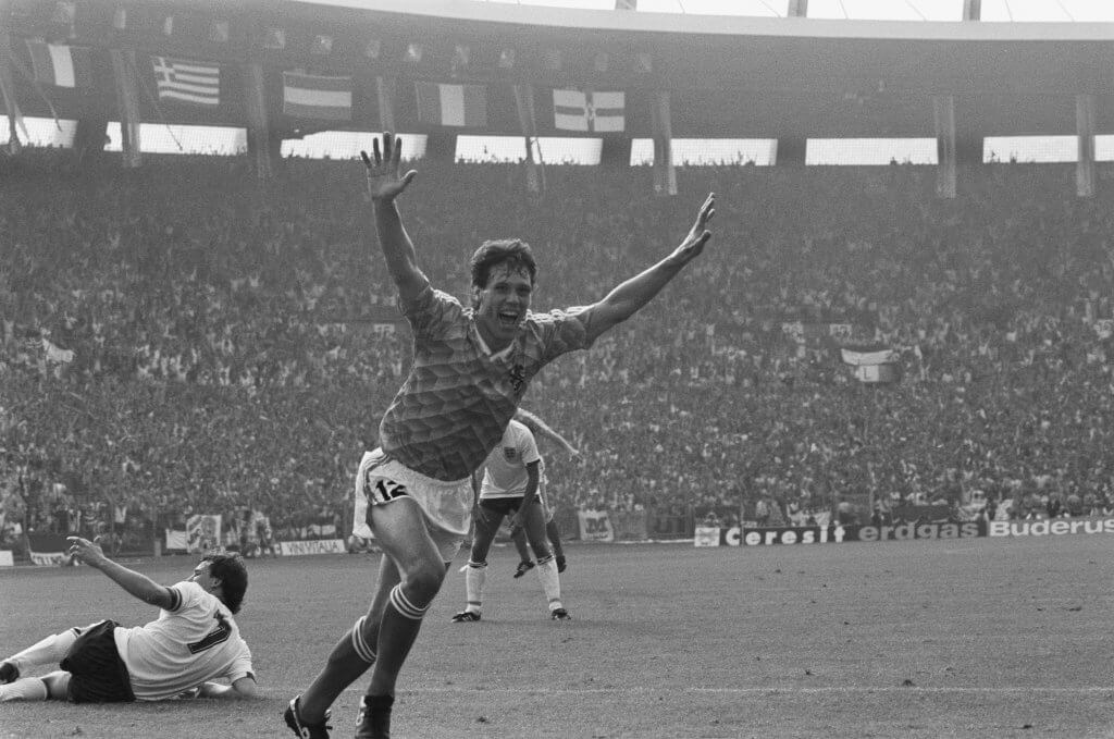 Van Basten celebrates his hat-trick against England at Euro 88
