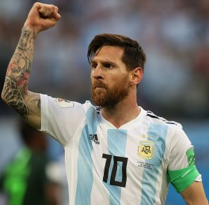 Argentine footballer Lionel Messi on 26 June 2018, celebrating a goal in the 2018 FIFA World Cup group stage match against Nigeria. &copyКирилл Венедиктов